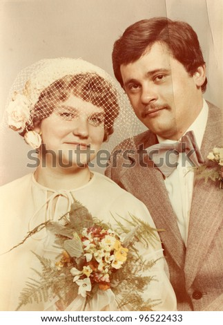 Vintage photo of newlyweds (seventies)