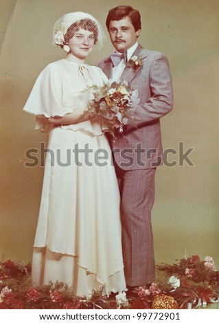 Vintage photo of newlyweds, seventies