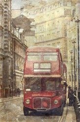 Vintage photo of old red London bus