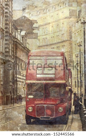 vintage photo of old red london ...