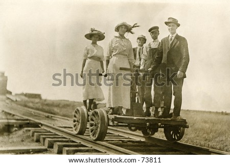 vintage photo of people on a...