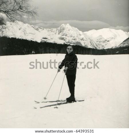 Vintage photo of skier (fifties)