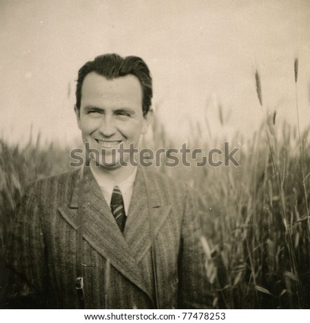 vintage photo of smiling man ...