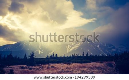 vintage photo of tatra mountains landscape - Shutterstock ID 194299589