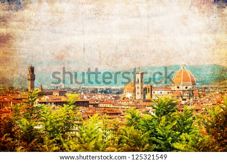 Vintage photo of the Florence city, Tuscany, Italy