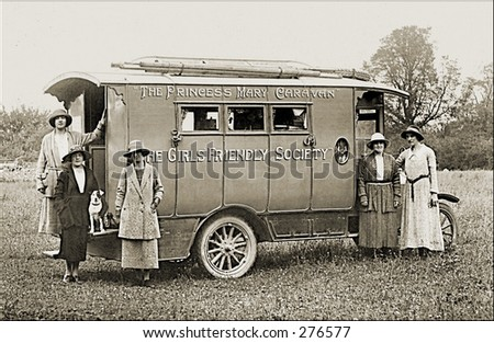 Vintage Photo of the Princess Mary Caravan of The Girls Friendly Society