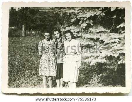 Vintage photo of three woman (forties)
