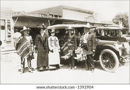 vintage photo of  tourists next ...