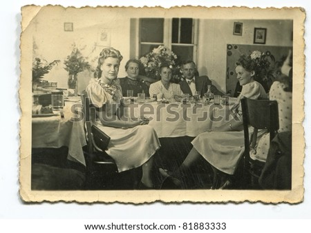 Vintage photo of wedding reception (forties)