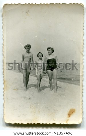 vintage photo of women and girl ...