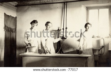 Vintage photo of women at a health spa, circa 1900
