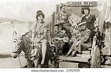 Vintage photo of Women On Pony Ride In Tijuana - stock photo