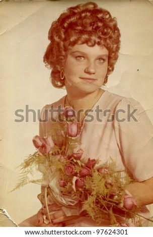 Vintage photo of young bride (seventies)