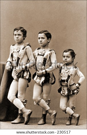 Vintage photo of young circus performers