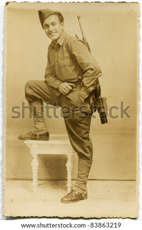Vintage photo of young man in American uniform (forties)
