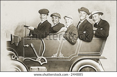 Vintage Photo of Young Men In Car