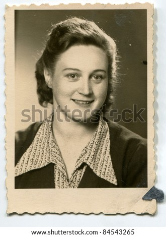 Vintage photo of young woman (fifties)