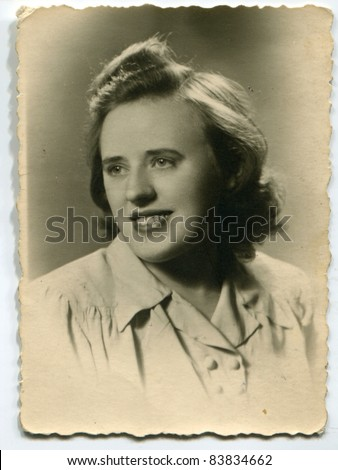 Vintage photo of young  woman (forties)
