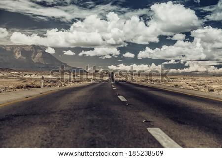 vintage photo. road through the ...