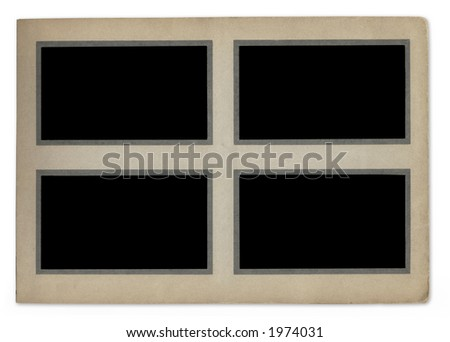 Vintage photograph album page with space for your pictures-isolated on white background