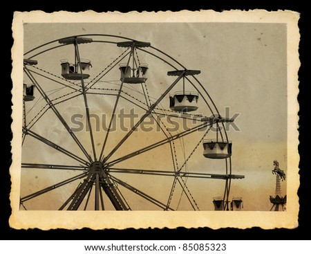 Vintage photograph of ferris wheel and carousel horse in amusement park.