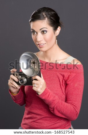 Vintage Photographer Attractive Woman Holding Camera With Flash Attached