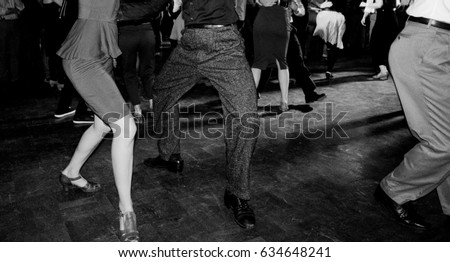 vintage photography in black and white of swing dancing couples