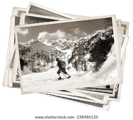 Vintage photos old skier with traditional old wooden skis