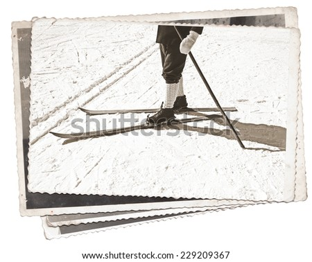 Vintage photos Old wooden skis and leather ski boots