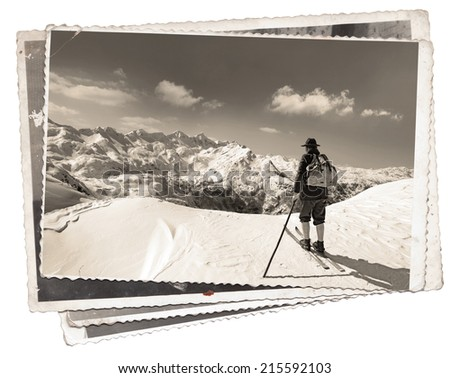 Vintage photos with skier with traditional old wooden skis