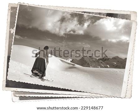 Vintage photos women on old wooden skis