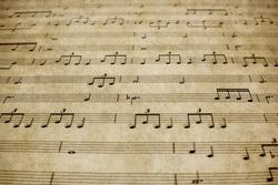 Vintage Piano Sheet Music Close Up