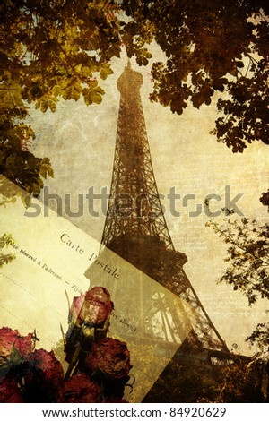 vintage picture of an old postcard dried roses and the Eiffel Tower