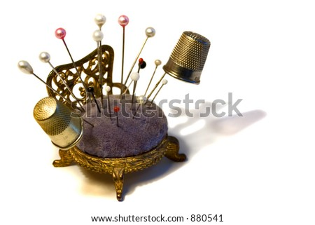 Vintage Pincushion For Sewing Isolated Stock Photo 880541