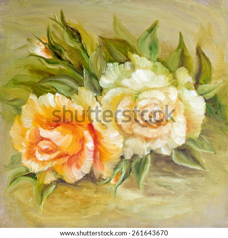 Vintage pink and yellow roses. Oil painting on canvas.