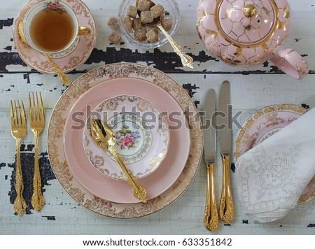 vintage pink china dinner...