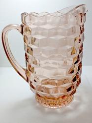 Vintage Pink Depression Glass Pitcher, Faceted Surface