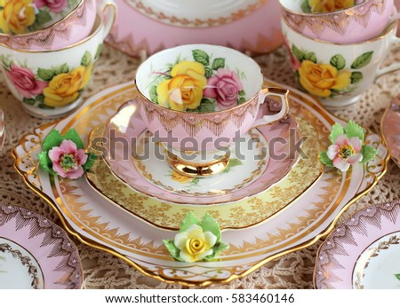 vintage pink tea cup and saucer ...