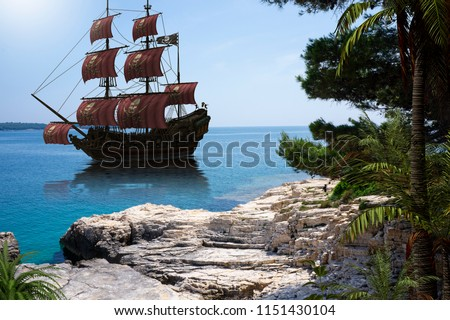 Vintage pirate ship to go anchor in a natural caribbean harbor to seek refuge from British warships, photo with 3d render illustration elements