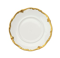 Vintage plate of unusual shape with gold rim isolated. Bowl top view.