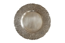 Vintage plate or tray isolated on white background.  Old metal plate with decorative round floral ornate frame.