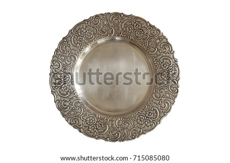 Vintage plate or tray isolated on white background.  Old metal plate with decorative round floral ornate frame. #715085080