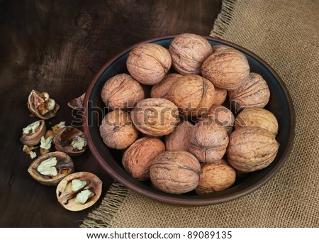 Vintage plate with walnuts.