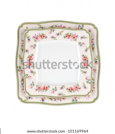 vintage plates isolated on white background