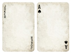 Vintage Playing Cards, Set include Jocker and Ace - isolated on white