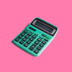 Vintage pocket calculator, with both battery and solar power, and math operations limited to multiplication, division, addition, subtraction and square root. Isolated on a punchy pastel background