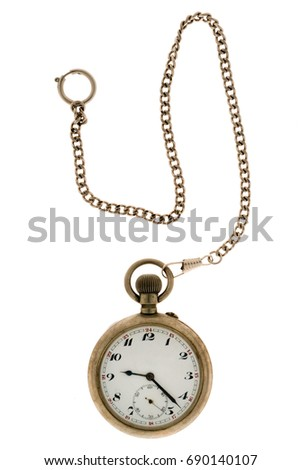 Vintage pocket watch with chain isolated on white background.