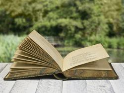 Vintage poetry book open, against rural view