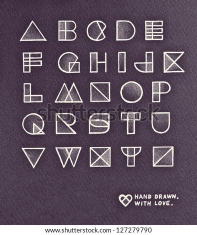 Vintage pop art style alphabet design. Pencil hand drawn with love:)