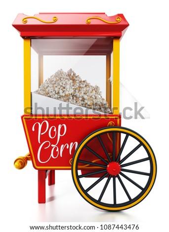 vintage popcorn cart isolated...